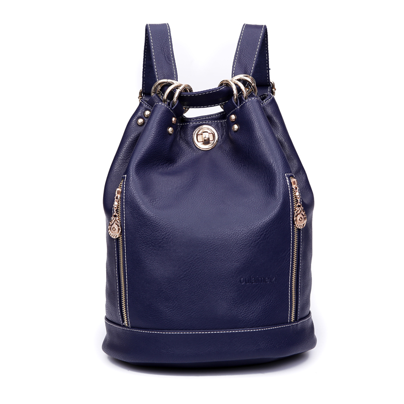 100% Genuine Leather Grils Backpack Brand Bag Second Layer of Cowhide Backpack College Lady Bucket Bags Shoulder Bag D134