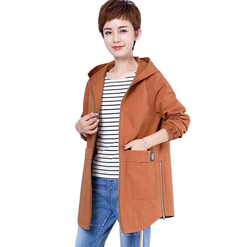 Plus size M-6XL Cotton   Trench   Coat Women Spring Autumn Hooded Windbreaker Female Basic coat zipper Loose   Trench   Casual Tops 2872