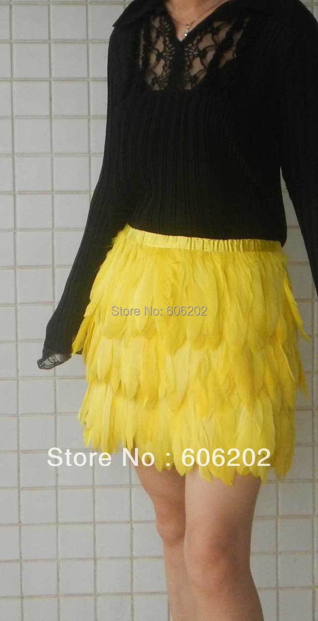 Purposeful 35cm Long Yellow Goose Feather Mini Skirt Free Shipping # Sk013a Quality And Quantity Assured Double Layer Fabric Lined