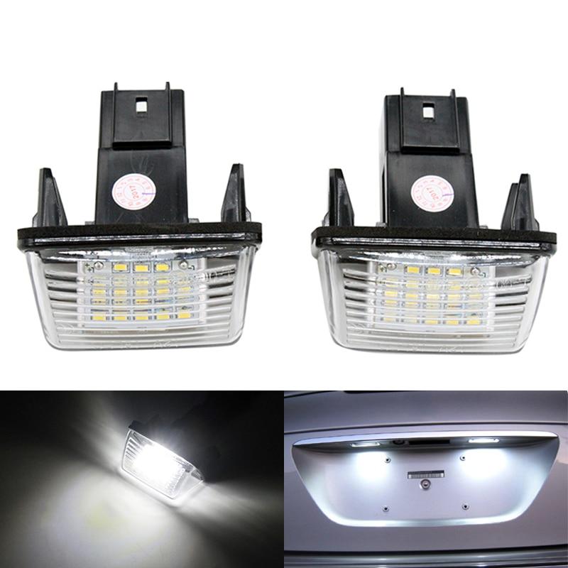 2Pcs/Pair Car LED Number License Plate Light Lamp 12V DC White 6000K for Peugeot 206 207 306 307 308 406 407 Partner Tepee lpl e39 5w 140lm 7500k 24 3528 smd led white light license plate lamp for bmw e39 12v