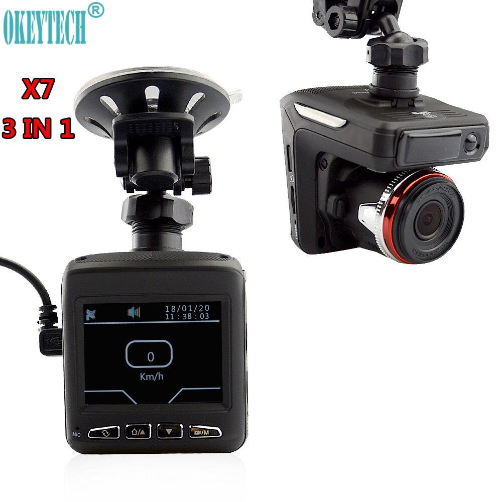 OkeyTech Autozubehör Besten 3 in 1 Auto Anti radar detektor + DVR + GPS Recorder Laser Nachtsicht Sensor Fixed/Strömungsgeschwindigkeit