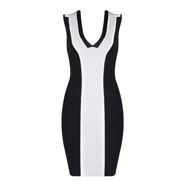 2017 cut out bandage dress summer deep v neck patchwork sleeveless bodycon mini club sexy party dresses elegant stylish vestidos