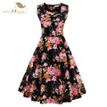 Summer Dress 2017 Vintage Rockabilly Dresses jurken 60s 50s Vintage Big Swing Pinup Audrey Hepburn Floral Print Dress VD0278