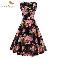 Summer Dress 2016 Vintage Rockabilly Dresses Jurken 60s 50s Vintage Big Swing Pinup Audrey Hepburn Floral