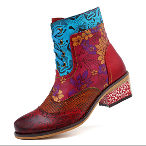 Image 3 - BuonoScarpe Retro Women Zipper Ankle Boots Winter Patchwork Flowers Printed Shoes Vintage Chunky Heel Casual Boots Ethnic Botas