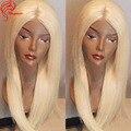 Cor #60 Platinum Blonde Cheia Do Laço Peruca de Cabelo Humano Reto de seda Peruca Dianteira do laço Do Cabelo Humano Sem Cola Cheia Do Laço Peruca Peruca de Cabelo Loiro