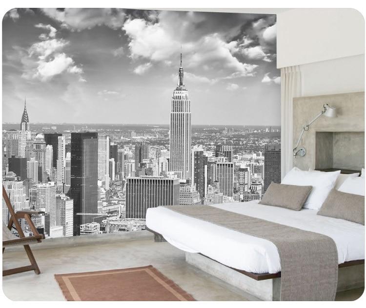 Black and white new york wallpaper murals 3d stereo for Black and white new york mural wallpaper