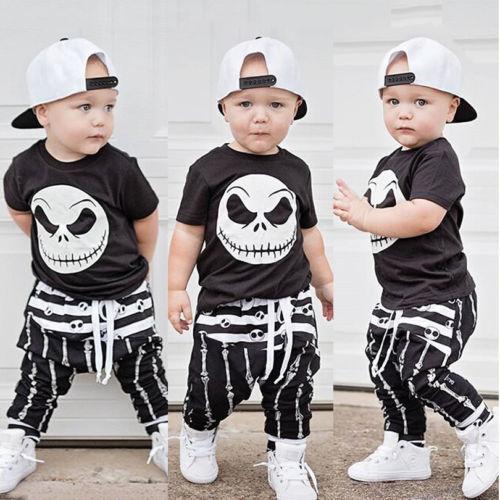חדש ליל כל הקדושים גולגולת בגדי סט תינוק ילד כותנה חולצה למעלה הרמון צפצף שחור ולבן תינוק תלבושת ילדי אימונית סט