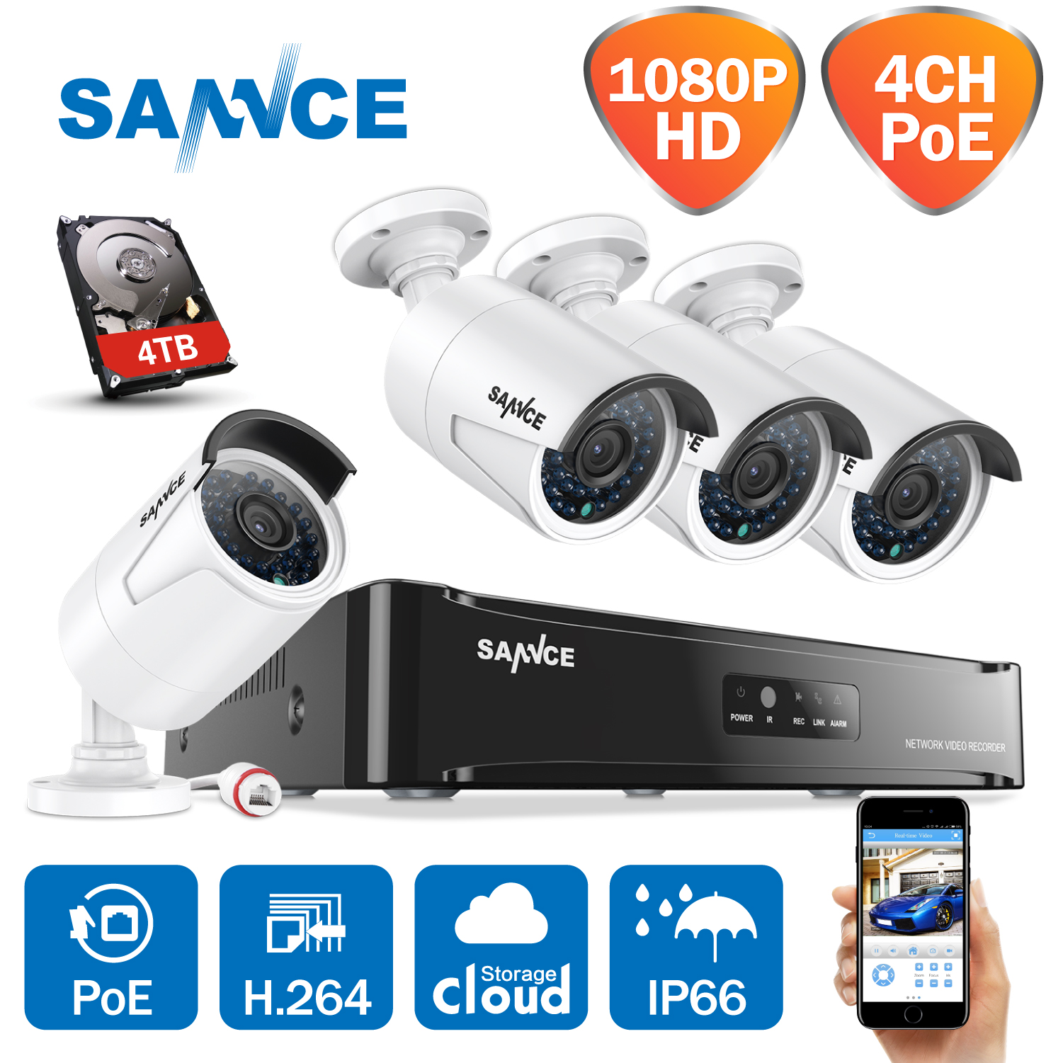 SANNCE HD 1080P CCTV System 4CH POE NVR 2/3/4TB HDD 4PCS 2MP 1080P POE IP Camera Network Outdoor Cameras Home Security System 10ml high grade tower type empty essential oil bottles gold plated crystal aromatherapy bottles page 2