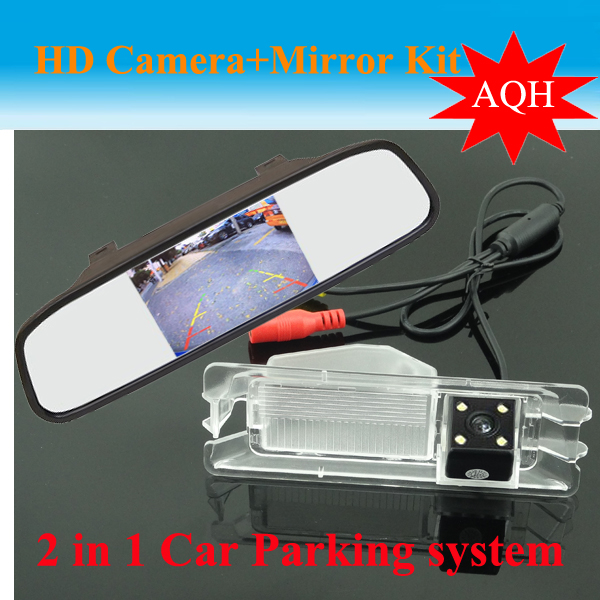 imágenes para 4.3 pulgadas monitor Del espejo de Coche + de visión trasera aparcamiento cámara para Nissan March/Para Renault logan Sandero Coche reversa de reserva cámara