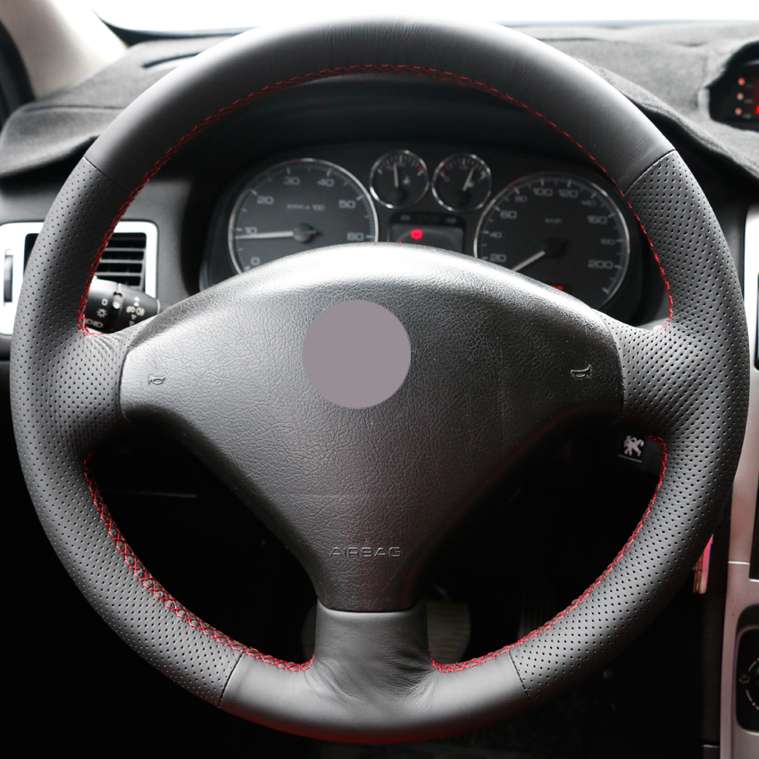 Black Synthetic Leather Car Steering Wheel Cover for Peugeot 307 auto Steering Covers