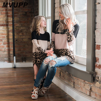 MVUPP mother daughter dresses Leopard Patchwork family matching outfits Full Sleeve mom mother kids fashion mommy and me dress