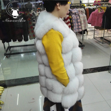 70CM Real Fur Vest 2016 Winter Thick Silver Fur Coat Jackets for Women Sleeveless Medium Long Genuine Fur Vest Colete De Pele