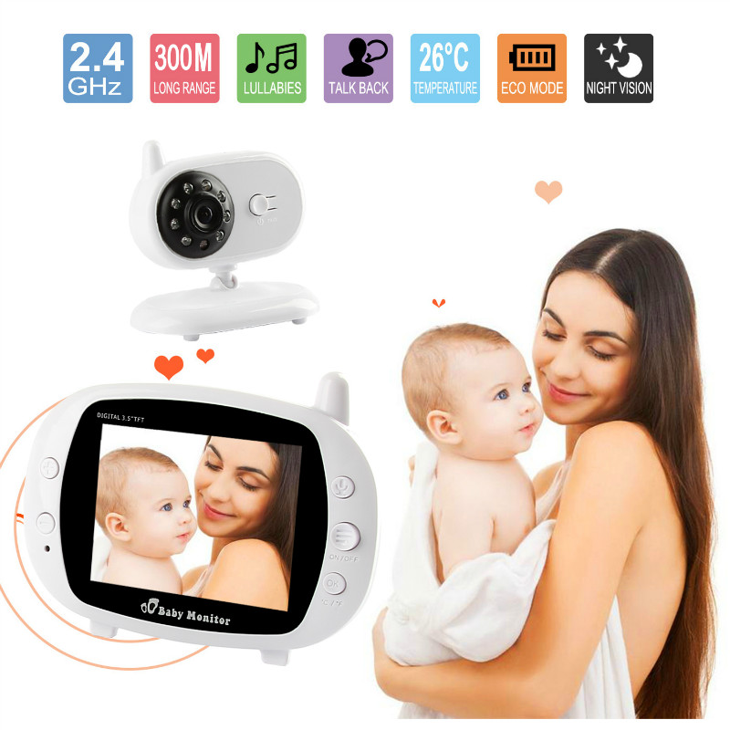 3.5 Baby Monitor LCD Digital Display 2.4 GHz Signal Two-way Talk Night Vision Audio Video 8 Lullabies Temperature Monitoring