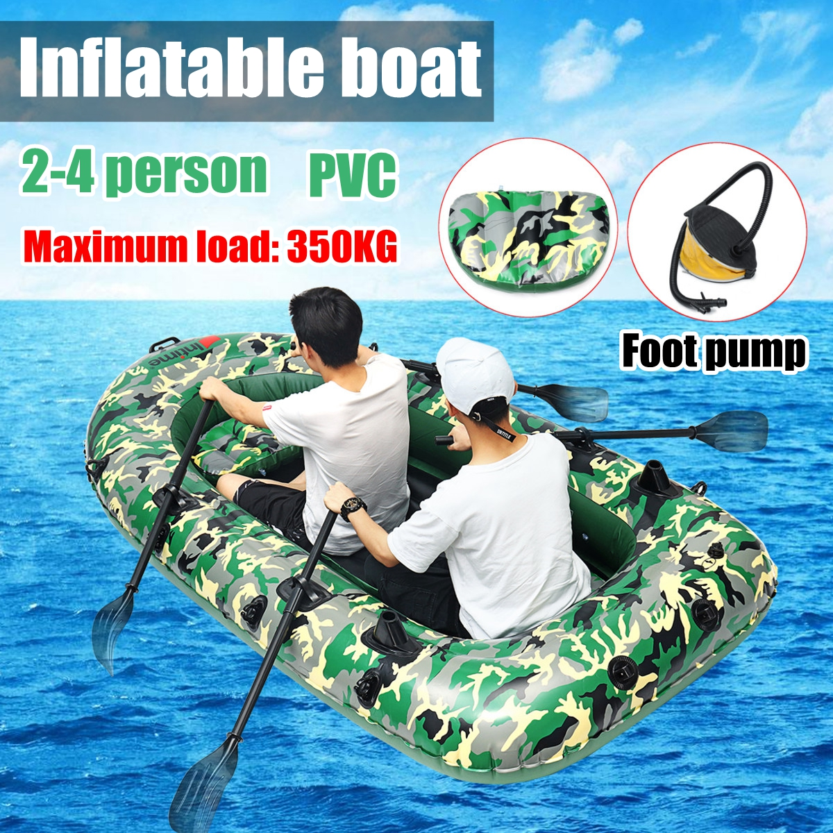 Sports fishman 2/3/4 Person PVC thick inflatable boat fishing inflatable kayak paddle pump dinghy air raft Rowing Boats 3 person angling boat drifting dinghy inflatable boat dinghy thickened hovercraft kayak pvc fishing boat assault