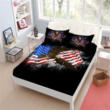 American Flag Sheet Set Bald Eagle Printed Bed Patriot Linens Deep Pocket Fitted Pillowcase Home Decor D30