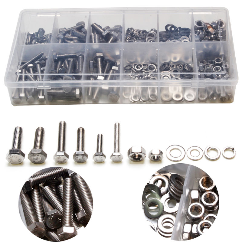 475PCS Metric Hex Bolts Head Cap Hexagon Socket Stainless Steel Nuts Screw with Lock Silver Flat / Elastic Washers M4 M5 M6 Kit 20pcs m4 m5 m6 din912 304 stainless steel hexagon socket head cap screws hex socket bicycle bolts hw003
