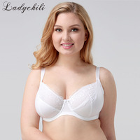 Ladychili Women Intimates European Plus Size Bras Underwire White Breast Minimizer Bra Deep Low Cut Bralette