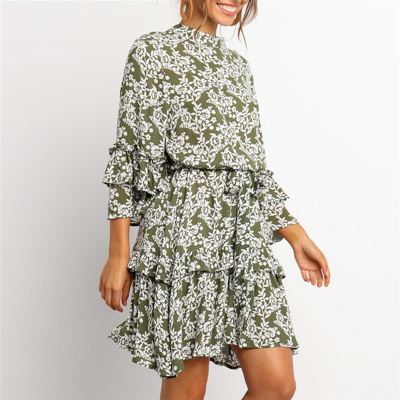 Ruffled Boho A-Line Summer Dress
