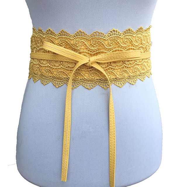 Badinka 2018 New Black White Wide Corset Lace Belt Female Self Tie Obi Cinch Waistband Belts for Women Wedding Dress Waist Band 5