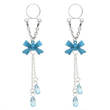 2PCS New Fashion Blue Bowknot Non pierced Clip On Crystal Nipple Ring Long Water Drop Fake Nipple Dangle Sexy Body Jewelry