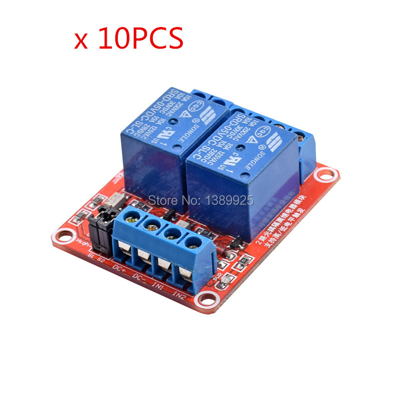10pcs/lot 5V Relay Module with Optical Coupling Isolation support high and low level trigger Two-way relay module 2 - Channel