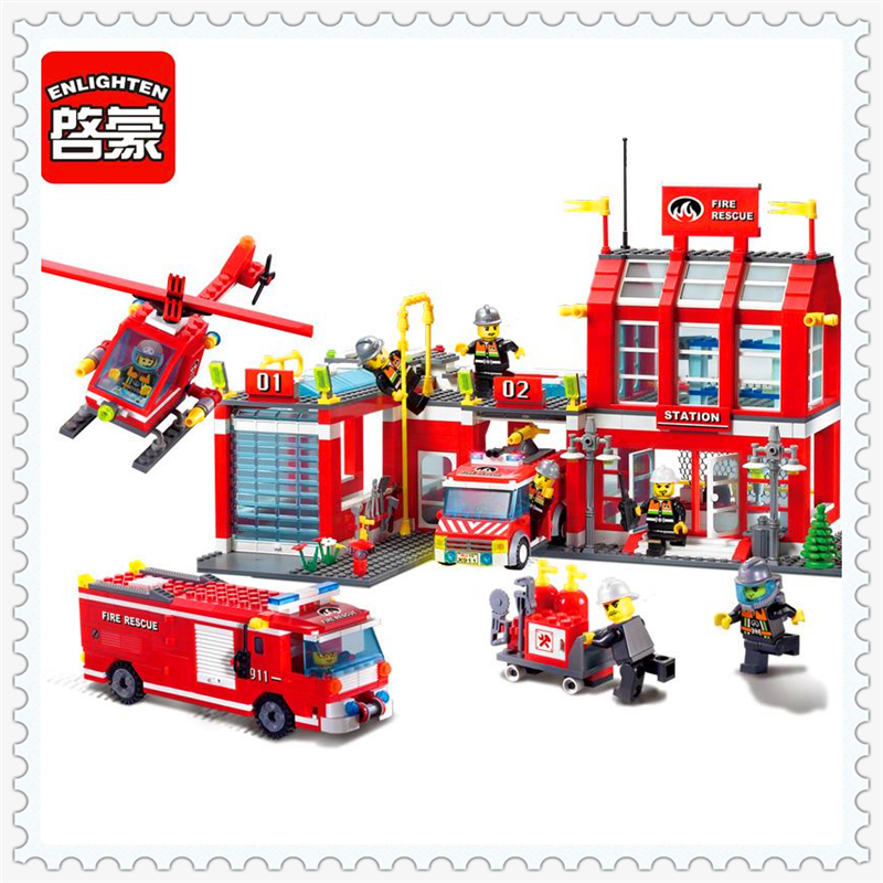 ENLIGHTEN 911 Fire Rescue Control Regional Bureau Building Block 970Pcs DIY Educational  Toys For Children Compatible Legoe 607pcs enlighten building block fire rescue scaling ladder fire engines 5 firemen educational diy toy for children