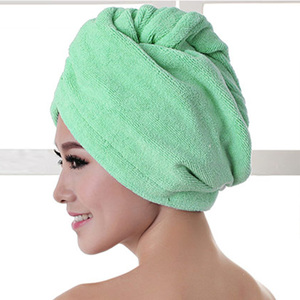 Image 2 - 1pcs  Microfibre After Shower Hair Drying Wrap Womens Girls Ladys Towel Quick Dry Hair Hat Cap Turban Head Wrap Bathing Tools