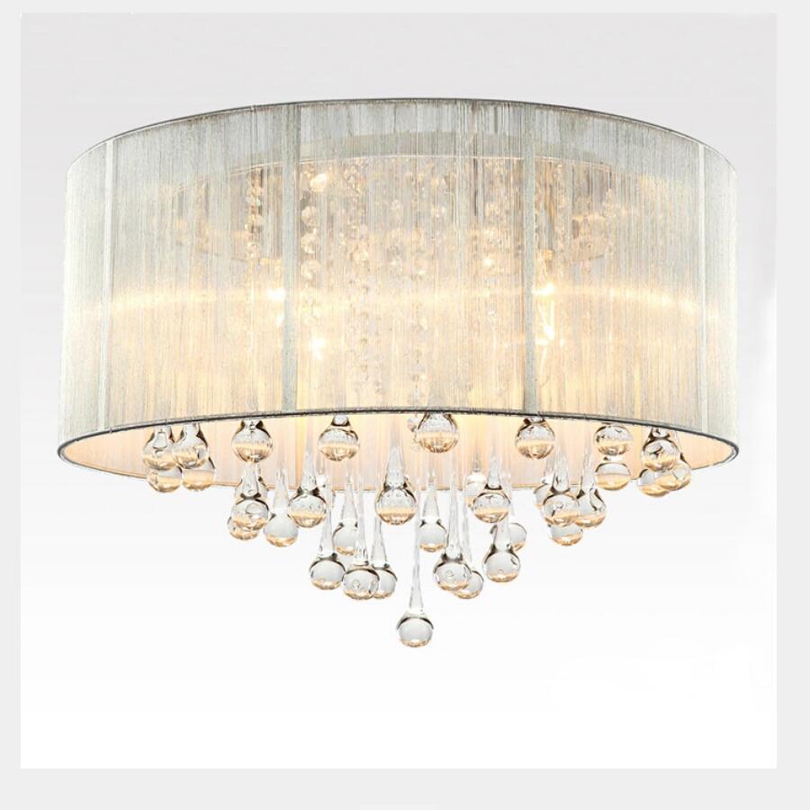 US $104.96 30% di SCONTO|Di modo led nero/argenteo Lampadari camera da  letto ha condotto la lampada in tessuto Lampadario led lustre luce E14 ...