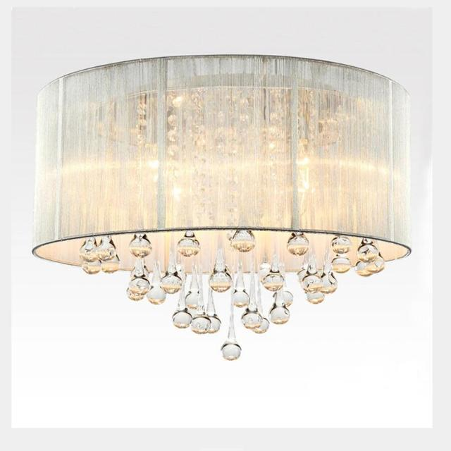 Fashion Led Black /silvery Chandeliers Bedroom Led Lamp Fabric Chandelier  Led Lustre Light E14 Chandeliers