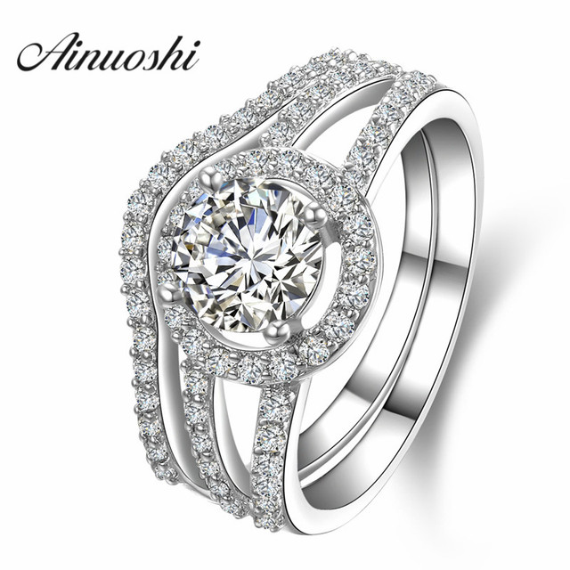 AINUOSHI Luxury 1 Carat Women Engagement Rings Set 925 Solid Sterling Silver Halo Bague High Quality Bridal Ring Set for Party