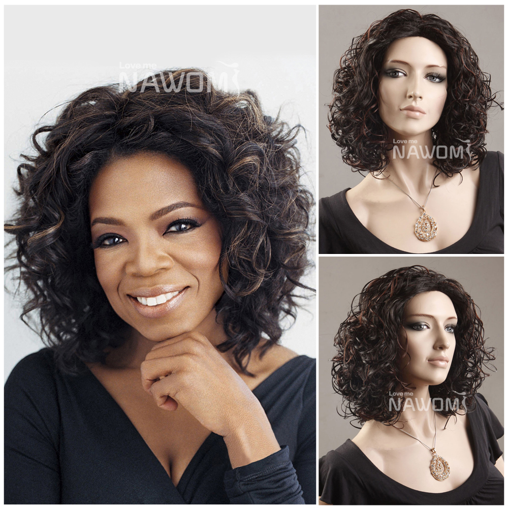 African American Short Curly Wig Fashion Style Women Wigs Oprah Hair Style Halloween Wigs Free