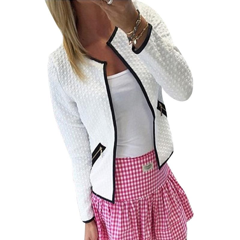 Women   Jacket   2017 Spring Autumn Women   Basic     Jacket   Long Sleeve Pockets Slim Short Cardigan Coat Casual Outwear Plus Size S-XL