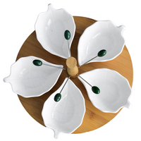 Novel Ceramic Leaf Divisible Fruit Serving Dish with Forks Decorative Porcelain Assorted Condiment Dinner Plate Bamboo Tableware