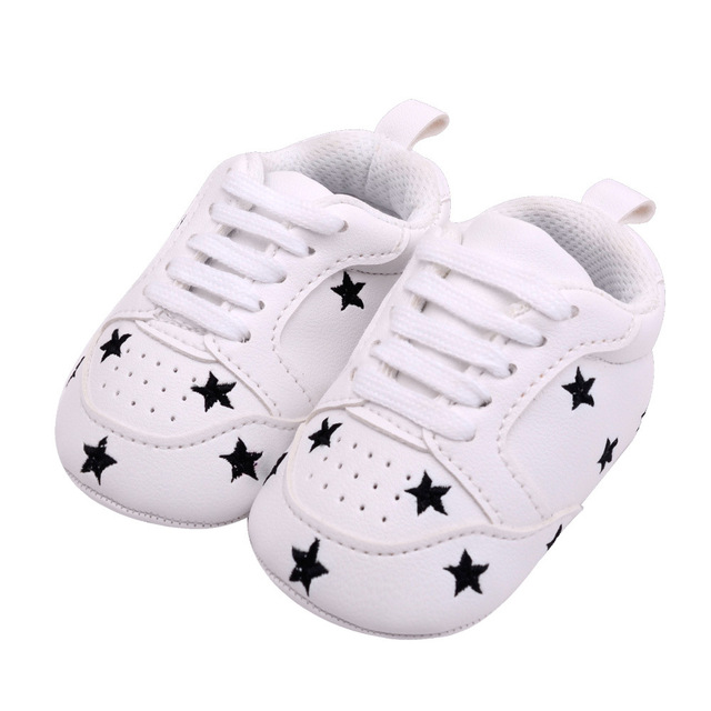 2019 Baby Shoes Newborn Boys Girls Heart Star Pattern First Walkers Kids Toddlers Lace Up PU Sneakers 0-18 Months 2