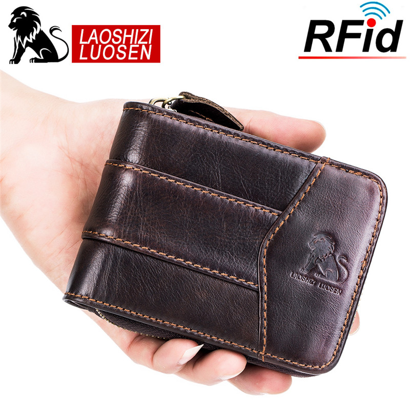 LAOSHIZI LUOSEN Hombres Carteras de Cuero Genuino Monedero Corto - Monederos y carteras