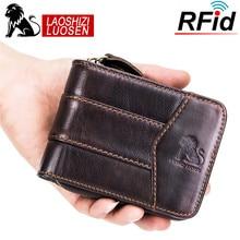 LAOSHIZI LUOSEN Lederen Mannen Portefeuilles Korte Portemonnee Kleine Retro Portemonnee Rundleer Kaarthouder Pocket Purse