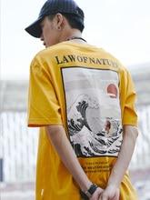 Dark Icon Law of Nature Harajuku Japanese Funny Cat Wave T-shirt Men Hip Hop Tshirts Cotton Casual Tee Shirts Mens Top