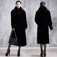 Las mujeres más tamaño más tamaño ultra largo abrigo de visón imitación prendas de vestir exteriores de la chaqueta de piel de invierno abrigos de piel mujer de piel falsa abrigos
