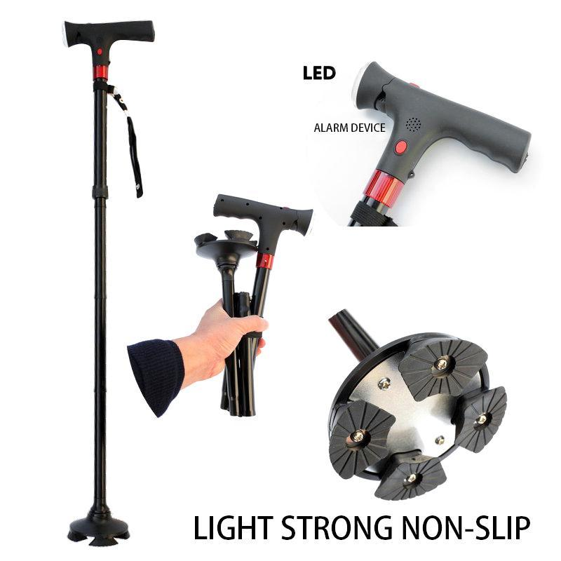 Walking Stick LED Light Old Man Folding Trekking Poles T-handle Man Hiking Poles Cane for Elders Outdoor Travel Walking Canes цена 2017
