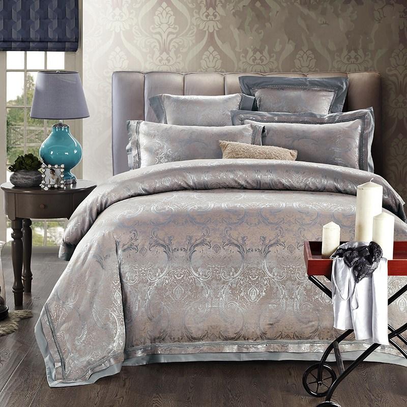 buy satin silk jacquard bedding set home textile 4 6pcs noble quilt duvet cover. Black Bedroom Furniture Sets. Home Design Ideas