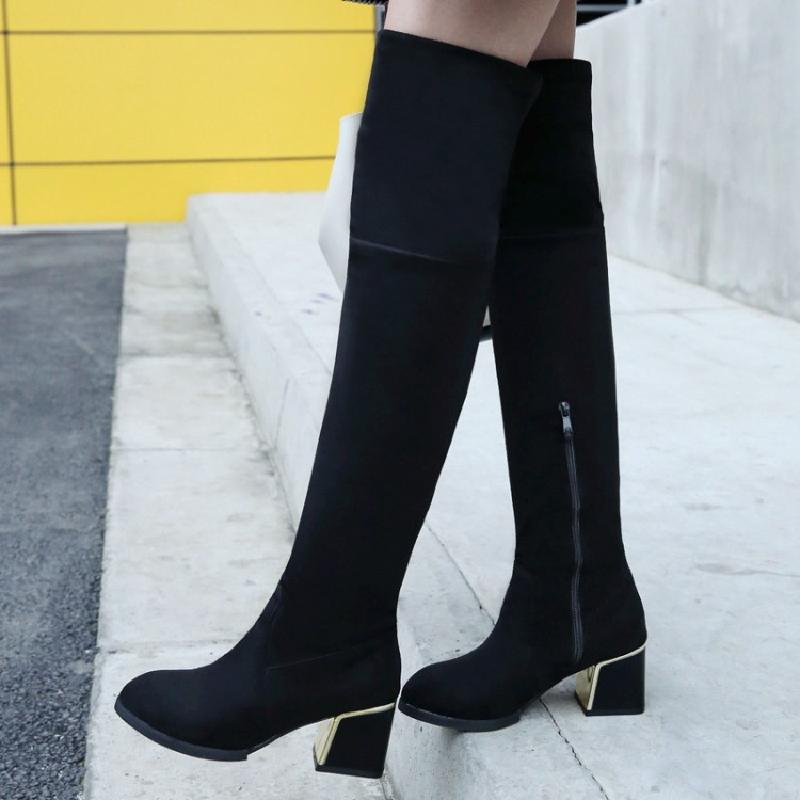 winter boots women over the knee boots female high boots sexy long autumn women shoes heeled boots free shipping &905-2 цены онлайн