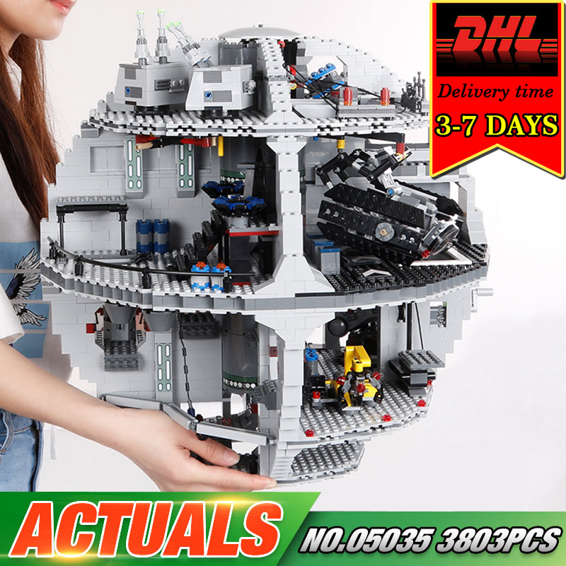 DHL LEPIN 05035 Death 3804pcs Star Building Blocks Set Compatible Bricks Model Kit Military War Classic Kids Toy For Child 10188 lepin 05035 star wars death star limited edition model building kit millenniums blocks puzzle compatible legoed 75159