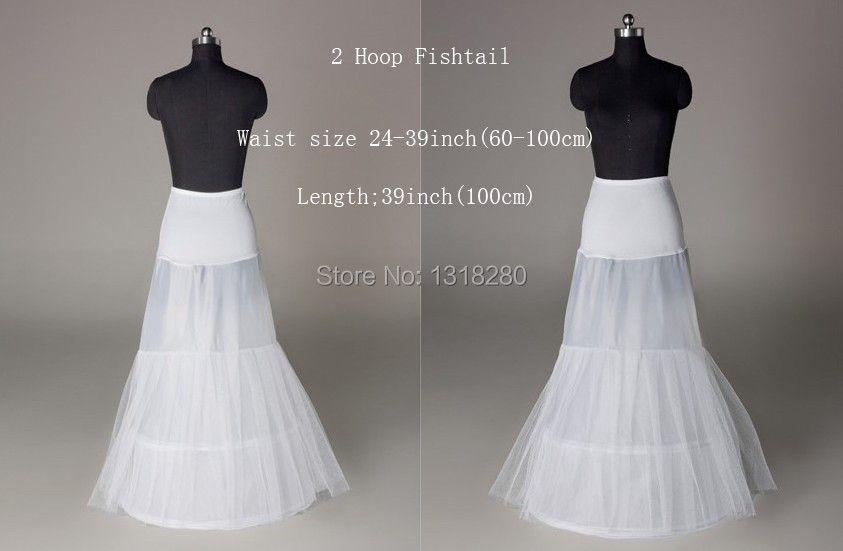 Q17 Real A Line 2 Hoops White Underskirt Bridal Petticoat Crinoline Slips For Wedding