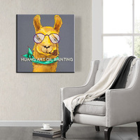 Top Skills Artist Support Hand painted Modern Yellow Alpaca Oil Painting For Living Room Unique Decorative Funny Animal Painting