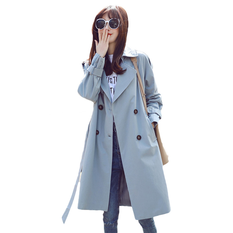 British Style   Trench   Coat Long Section 2019 Spring Autumn Women's Korean Double-breasted tie Khaki Coat Female Overcoat N580