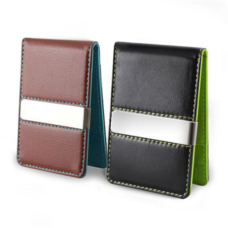 mens 2 colors fashion metallic leather credit card wallet with single money clip credit card case cash clip slim wallet carteira in wallets from luggage - Mens Money Clip Credit Card Holder