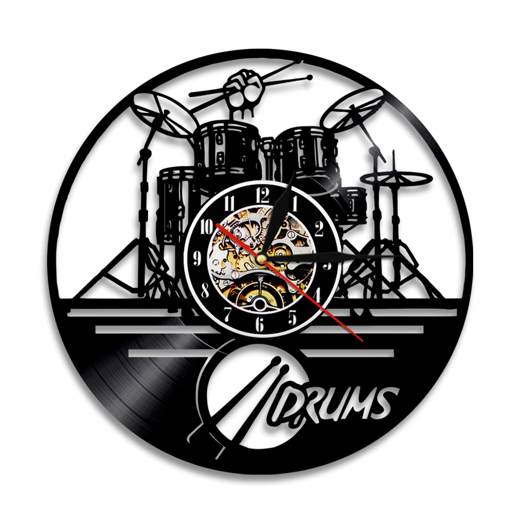Aliexpress buy 1piece guitar drums set vinyl wall clock aliexpress buy 1piece guitar drums set vinyl wall clock music instrument notes vinyl sticker home decor handmade vintage art gift from reliable vinyl amipublicfo Images