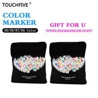 TouchFive Heißer Verkauf Kunst Marker 1mm/6mm Alkoholische ölige tinte Marker Set Für Manga Aquarell Pinsel stift Tinte Liner