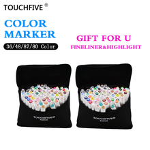 TouchFive Hot Selling Art Marker 1mm/6mm Alcoholic oily based ink Marker Set For Manga Watercolor Brush Pen Ink Liners